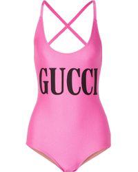 Gucci - Bedruckter Badeanzug - Lyst