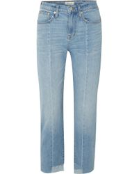 Madewell - Cruiser Distressed Mid-rise Straight-leg Jeans - Lyst