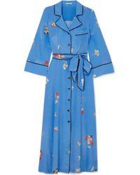 Ganni - Joycedale Floral-print Silk Crepe De Chine Maxi Dress - Lyst
