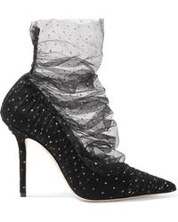 Jimmy Choo - Lavish 100 Glittered Tulle And Suede Court Shoes - Lyst