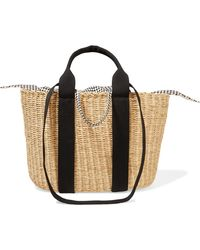 Muuñ - Caba Straw And Printed Cotton-canvas Tote - Lyst