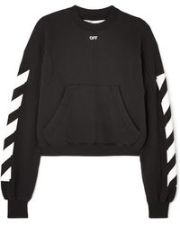Off-White c/o Virgil Abloh - Cropped Printed Cotton-blend Jersey Sweatshirt - Lyst