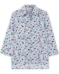 Marni - Floral-print Washed Cotton-poplin Shirt - Lyst