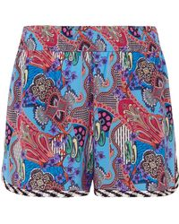 Etro - Printed Silk Crepe De Chine Shorts - Lyst