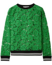 Valentino - Jersey-trimmed Corded Cotton-blend Lace Sweatshirt - Lyst