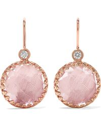 Larkspur & Hawk - Olivia Button Small Rose Gold-dipped, Quartz And Diamond Earrings Rose Gold One Size - Lyst