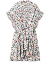 Chloé - Ruffle-trimmed Pleated Floral-print Georgette Mini Dress - Lyst