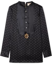Figue - Milagro Embellished Polka-dot Silk-satin Blouse - Lyst