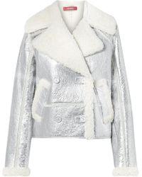Sies Marjan - Hensley Metallic Textured-leather And Shearling Jacket - Lyst