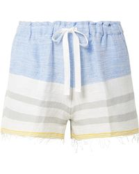 lemlem - Mimi Fringed Striped Cotton-blend Gauze Shorts - Lyst