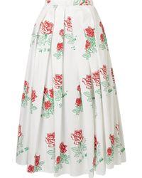 Rosie Assoulin - Printed Pleated Cotton-blend Midi Skirt - Lyst