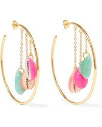 Aurelie Bidermann - Gold-plated Enamelled Shell Hoop Earrings - Lyst