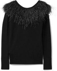 MICHAEL Michael Kors - Feather-trimmed Merino Wool Jumper - Lyst