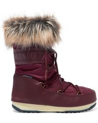 Moon Boot - Monaco Faux Fur-trimmed Shell And Faux Leather Snow Boots - Lyst