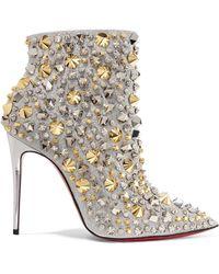 Christian Louboutin - So Full Kate 100 Verzierte Ankle Boots Aus Leder Mit Glitter-finish - Lyst