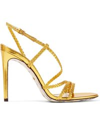Gucci - Haines Braided Metallic Leather Slingback Sandals - Lyst