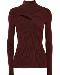 Mugler - Cutout Ribbed Stretch-knit Turtleneck Jumper - Lyst