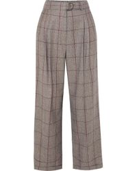 Brunello Cucinelli - Prince Of Wales Checked Wool Trousers - Lyst