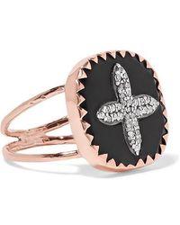 Pascale Monvoisin Bowie N°2 9-karat Rose Gold, Bakelite And Diamond Ring