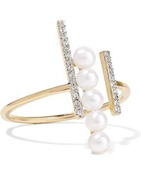 Mateo - 14-karat Gold, Diamond And Pearl Ring - Lyst