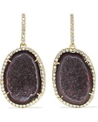 Kimberly Mcdonald - 18-karat Green Gold, Geode And Diamond Earrings Gold One Size - Lyst