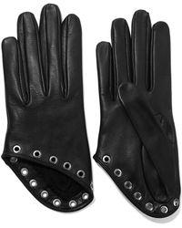 Alexander McQueen - Eyelet-embellished Leather Gloves - Lyst