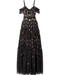 Needle & Thread - Lustre Cold-shoulder Embellished Tulle Gown - Lyst