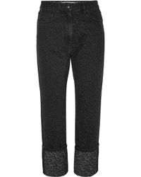 McQ - Cropped Leopard-print Straight-leg Jeans - Lyst