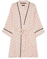 DKNY - Printed Crepe De Chine Robe - Lyst