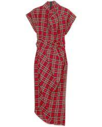 Awake - Tartan Cotton Midi Dress - Lyst