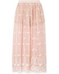 Miguelina - Paris Embroidered Crocheted Cotton Maxi Skirt - Lyst