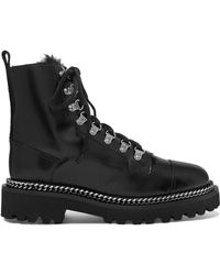 Balmain - Chain-embellished Shearling-lined Leather Ankle Boots - Lyst