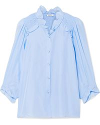 Vilshenko - Marie Shirred Washed-silk Blouse - Lyst
