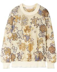 See By Chloé - Printed Open-knit Sweatshirt - Lyst