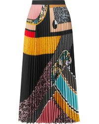 Mary Katrantzou - Uni Pleated Printed Crepe De Chine Midi Skirt - Lyst
