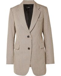 Theory - Houndstooth Cotton And Wool-blend Blazer - Lyst