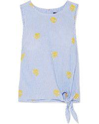 J.Crew - Embroidered Striped Cotton-poplin Top - Lyst