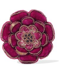 Etro - Beaded Velvet Brooch - Lyst