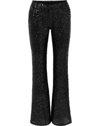 Anna Sui - Sparkling Nights Sequined Mesh Flared Trousers - Lyst
