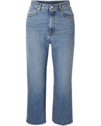 Alexander McQueen - Cropped Frayed Jeans - Lyst
