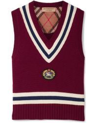 Burberry - Maringa Logo Patch Striped Wool And Cashmere-blend Knit Vest - Lyst