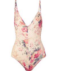Zimmermann - Laelia Pintucked Floral-print Swimsuit - Lyst