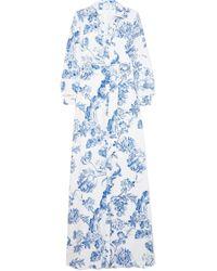Oscar de la Renta - Floral-print Silk-crepe Gown - Lyst