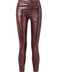 J Brand - Metallic Snake-effect Leather Skinny Pants - Lyst
