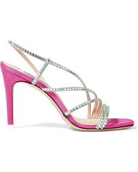 Attico - Baby Crystal-embellished Moire Slingback Sandals - Lyst