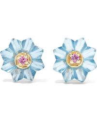 Alice Cicolini - Summer Snow 9-karat Gold, Topaz And Sapphire Earrings - Lyst