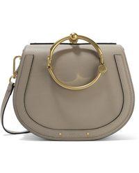 Chloé - Nile Bracelet Medium Textured-leather And Suede Shoulder Bag - Lyst