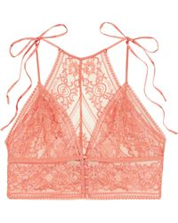 Stella McCartney - Ophelia Whistling Stretch-leavers Lace Soft-cup Bra - Lyst