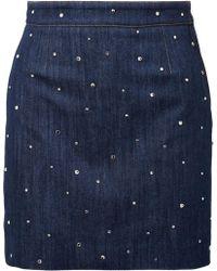 Miu Miu - Crystal-embellished Denim Mini Skirt - Lyst
