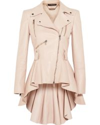 Alexander McQueen - Leather Peplum Biker Jacket - Lyst